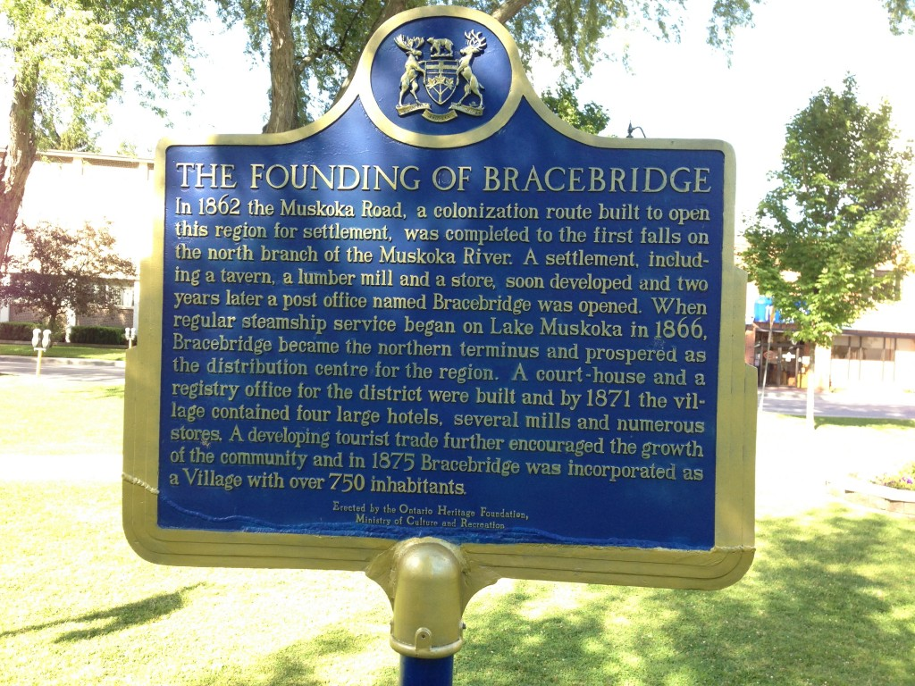 Plaque with the story of Bracebridge's founding