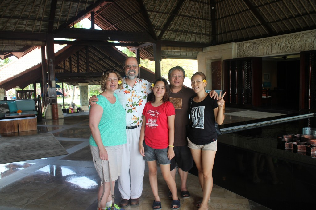 With our fantastic guides to all things fascinating in Bali, right before we departed the Nirwana resort in Tanah Lot.